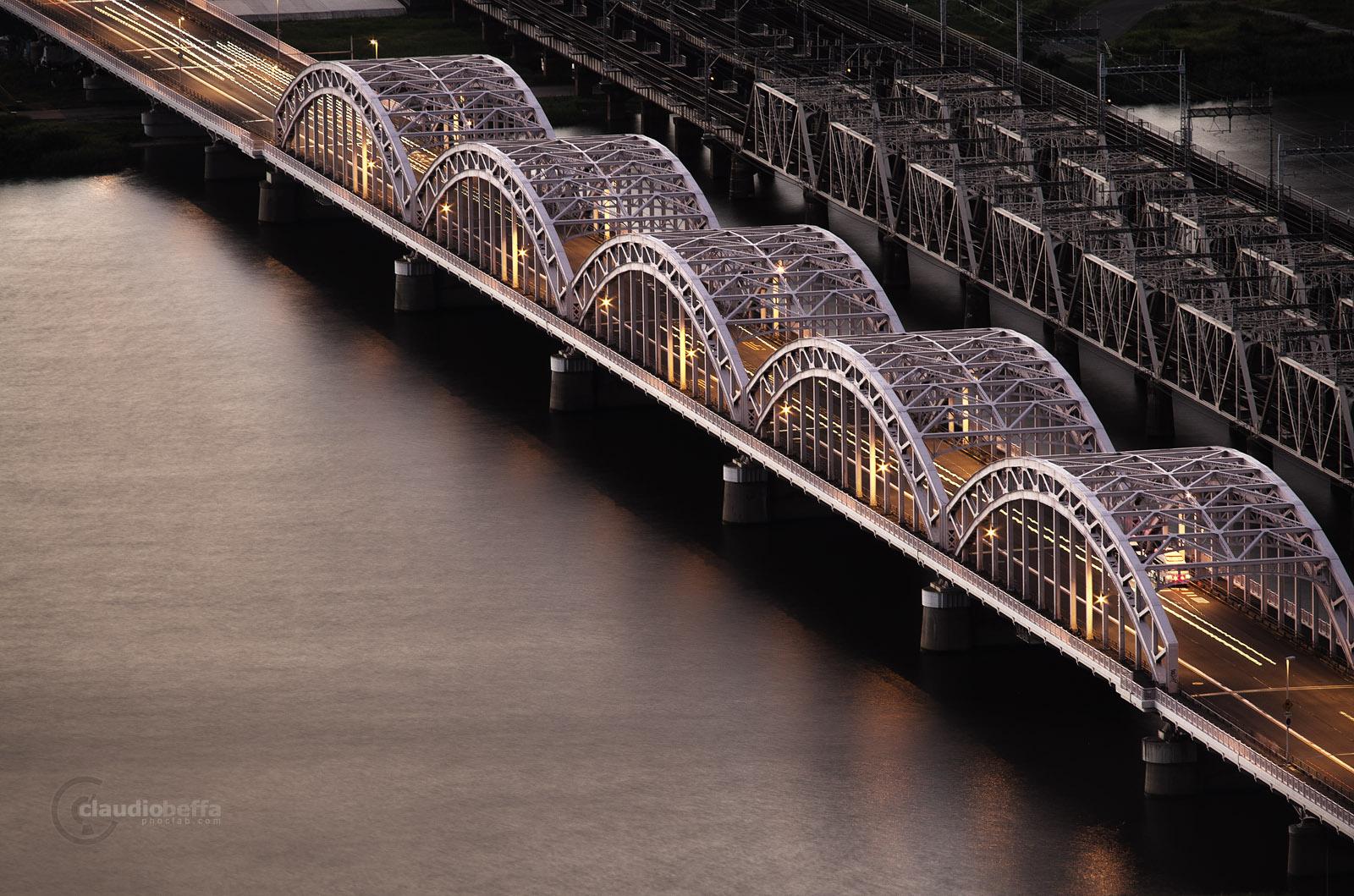 Japan Osaka Yodogawa Bridges