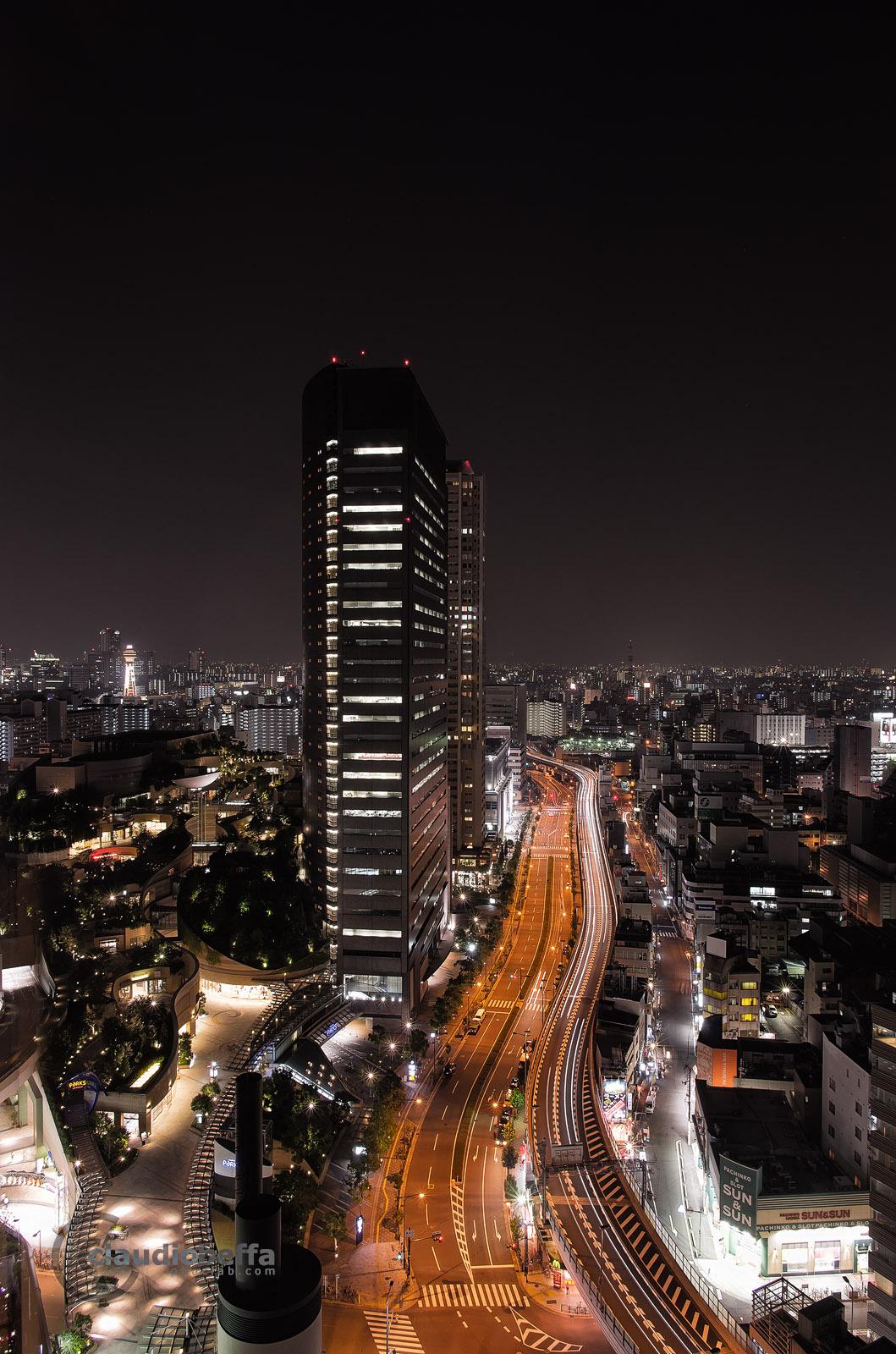 Namba Landscape Night Nankai Swiss Hotel Hanshin Expressway Parks Skyscrapers Tsutenkaku Tower Osaka