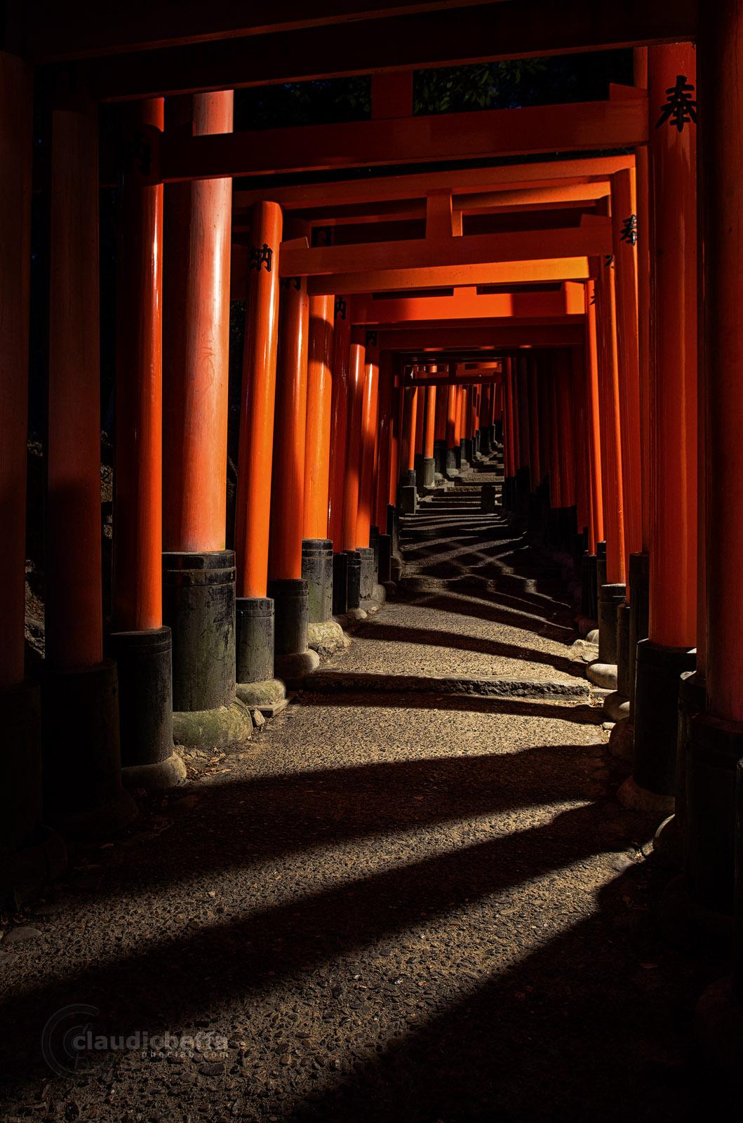 Kyoto Fushimi Inari Taisha Shrine Night Path Lights Shadows