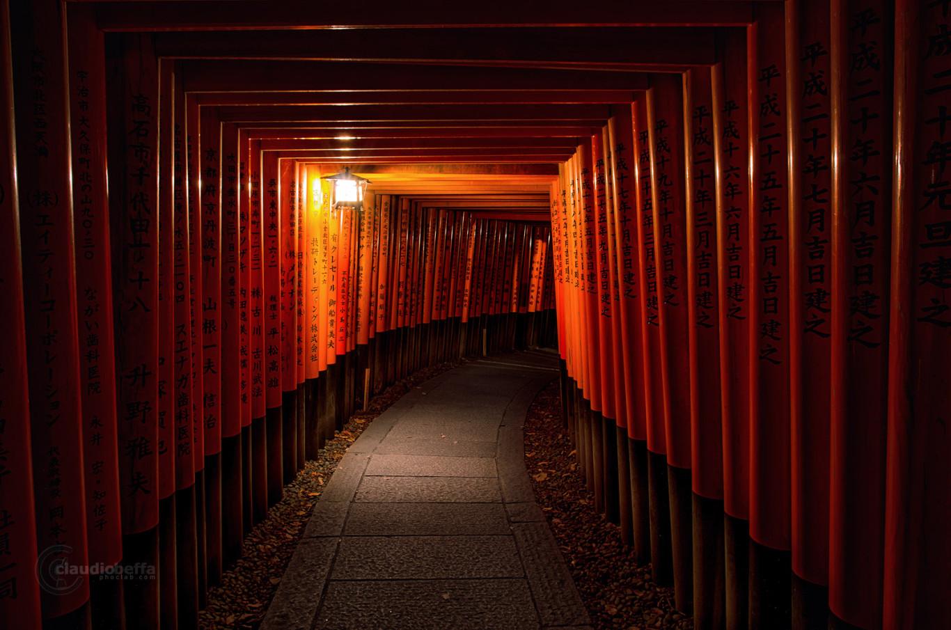 Kyoto Fushimi Inari Taisha Shrine Night Path Torii Lantern Light