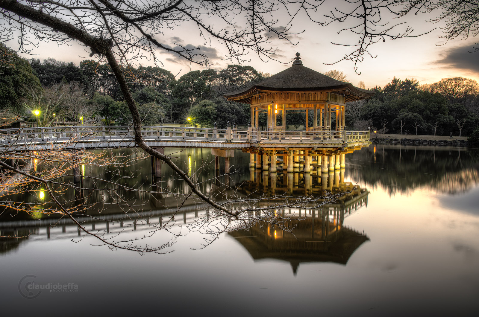 Floating Pavilion Lake Reflection Bridge Tree Sunset Nara Landscape HDR Japan Pentax