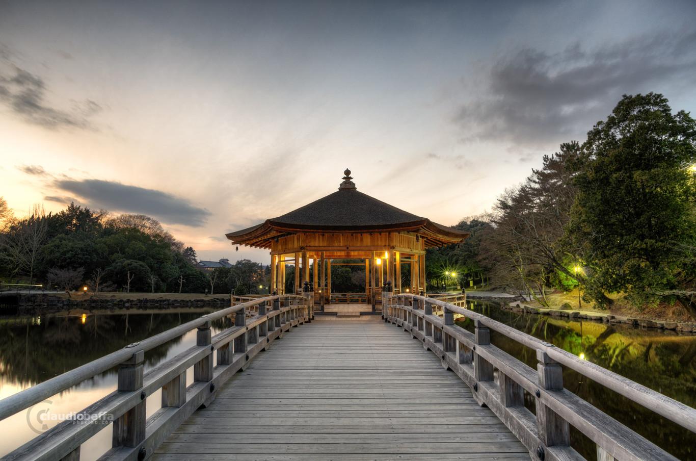 Sunset Bridge Wood Pavilion Lake Nara Landscape HDR Japan Pentax