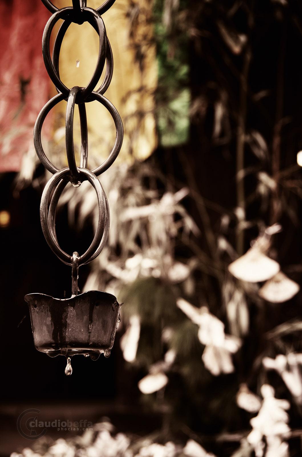 Water chain Kusaridoi rain drip temple Japan Pentax