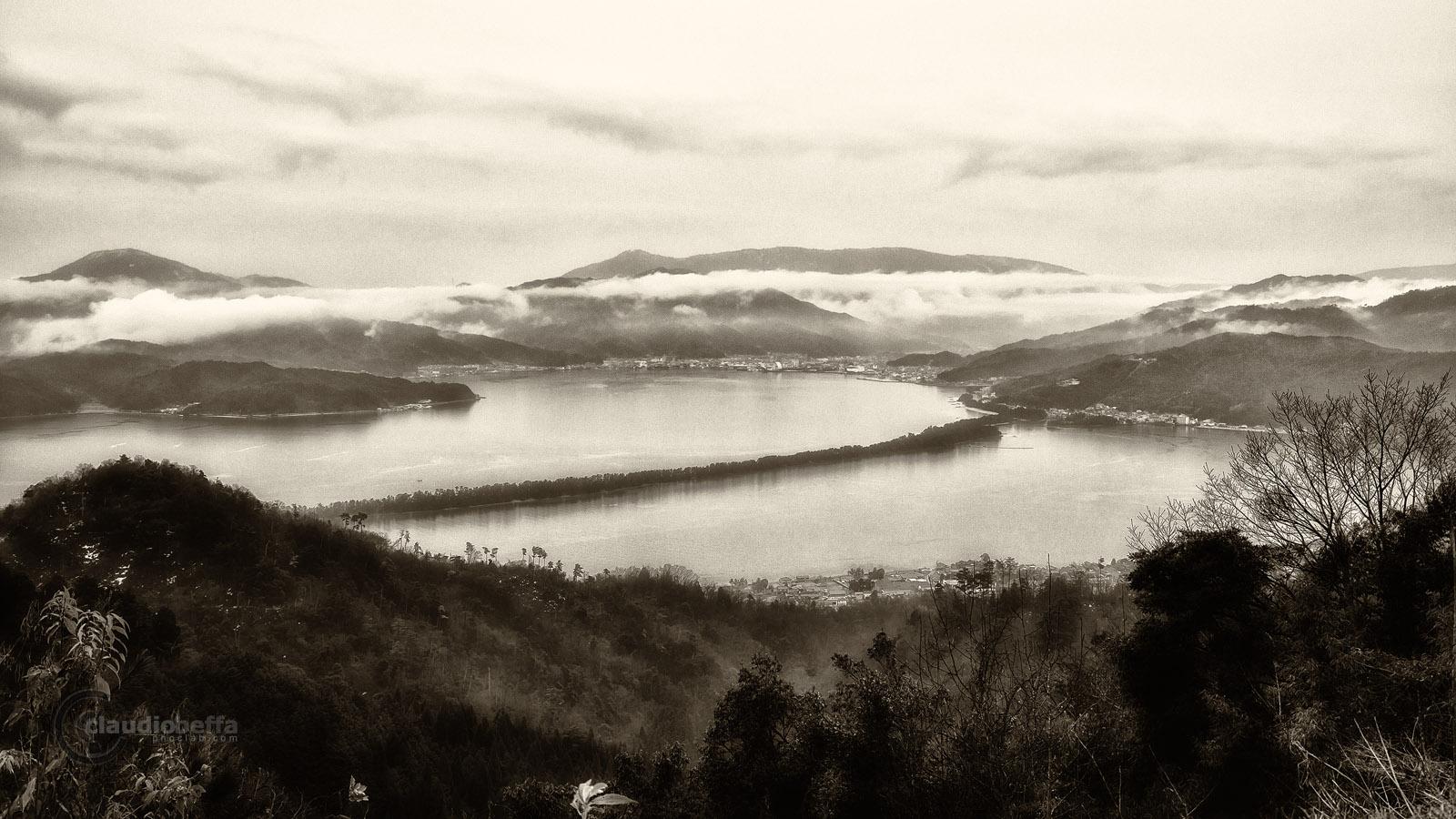 Amanohashidate Bridge Heaven Landscape Sumi-e painting B&W Japan Pentax