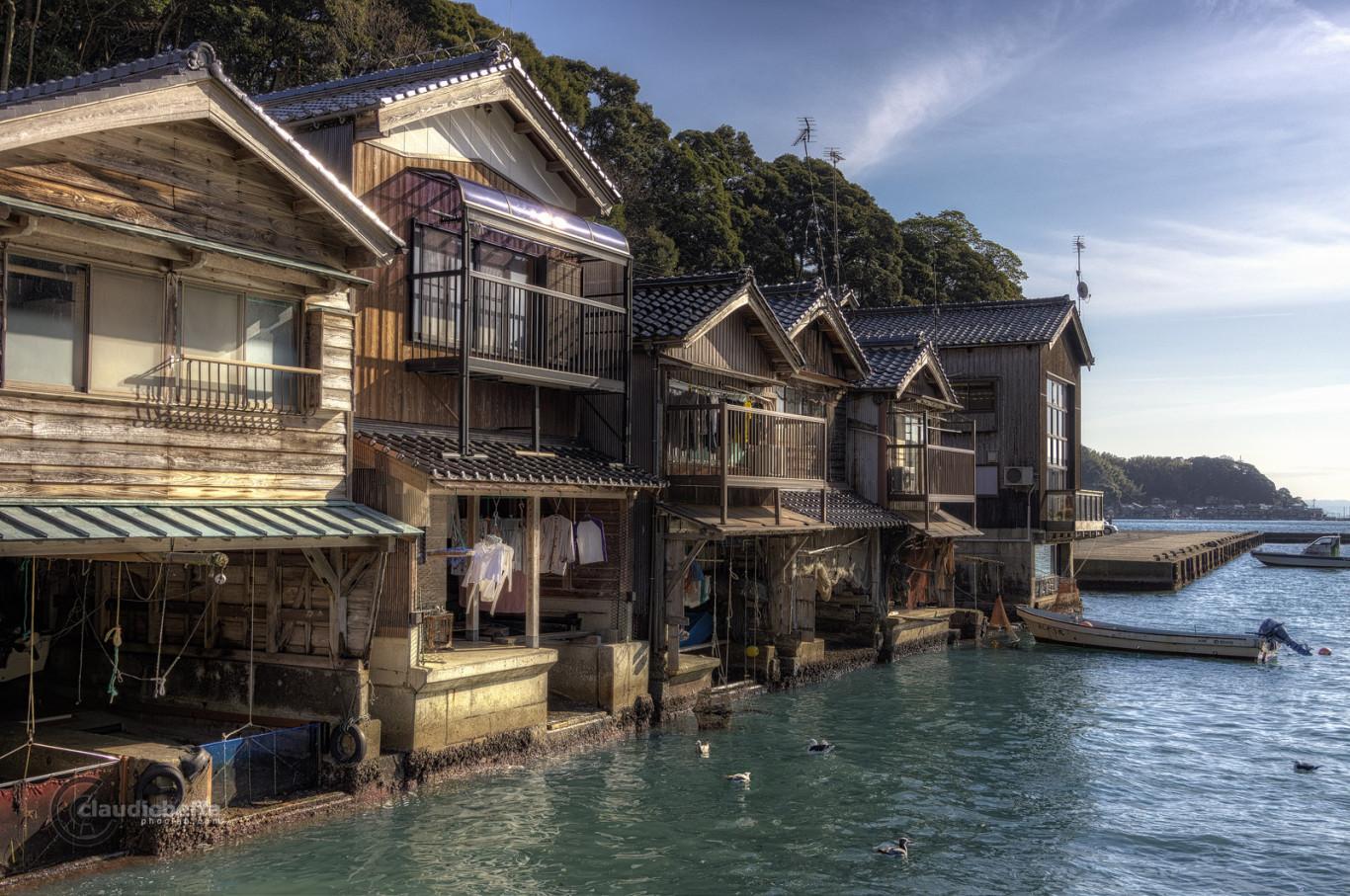 Kyoto, Inenofunaya, Houses, Fishermen, Boats, Sea, Landscape, Japan, Pentax, HDR