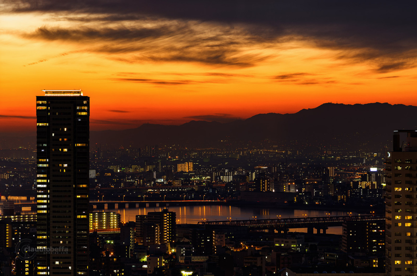 Osaka, Umeda, Sunset, Landscape, City, Skyscraper, River, Sky, Japan, Pentax