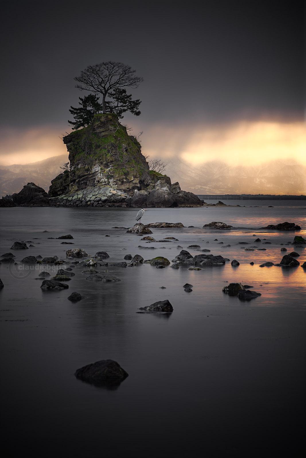 Sunrise, Sea, Amaharashi, Island, Tree, Heron, Gold, Mountains, Toyama, Japan, HDR, Pentax