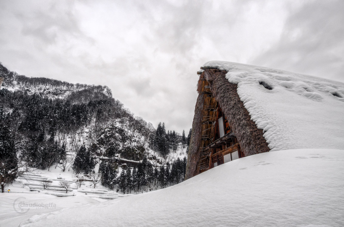 Snow, Ainokura, Gokayama, Toyama, Japan, Gassho, Farmhouse, Landscape, Mountain, HDR, Pentax