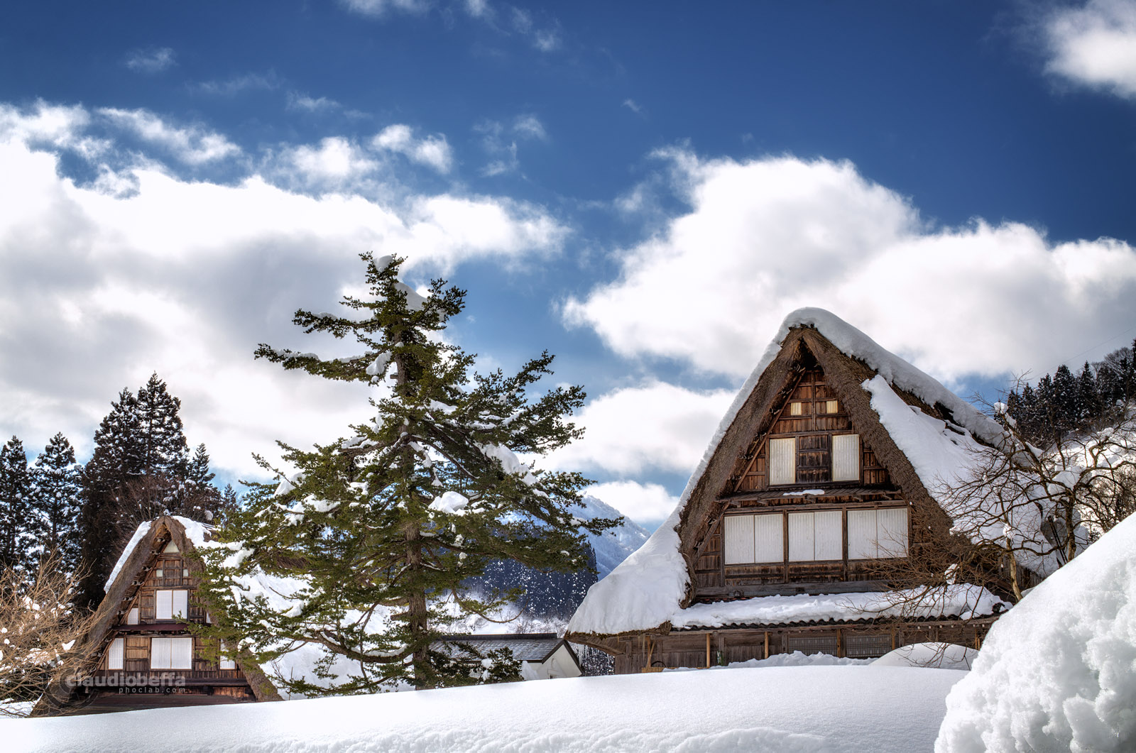 Snow, Ainokura, Gassho, Farmhouse, Landscape, Mountain, Sky, Clouds, Gokayama, Toyama, Winter, HDR, Pentax, Japan