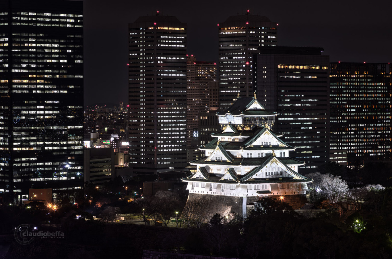 Osaka Castle, Traditional, Modern, Night, Lights, Long exposure, Japan, Pentax