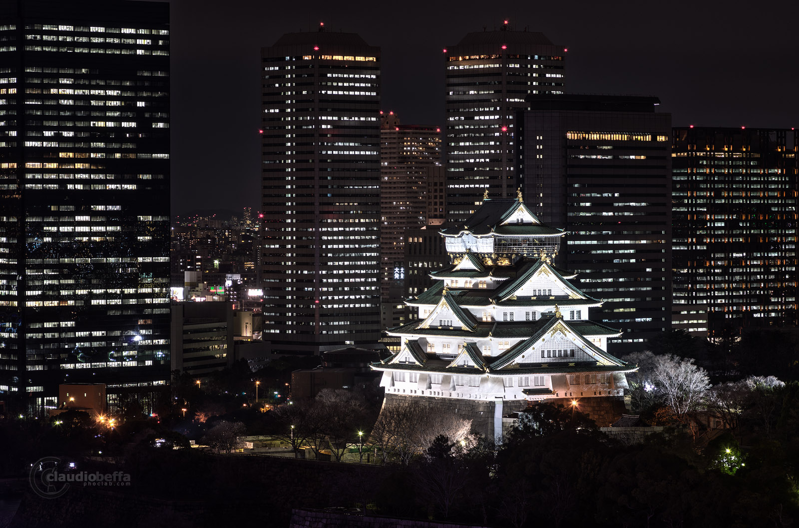 Osaka Castle, Traditional, Modern, Night, Lights, Long exposure, Japan, Pentax