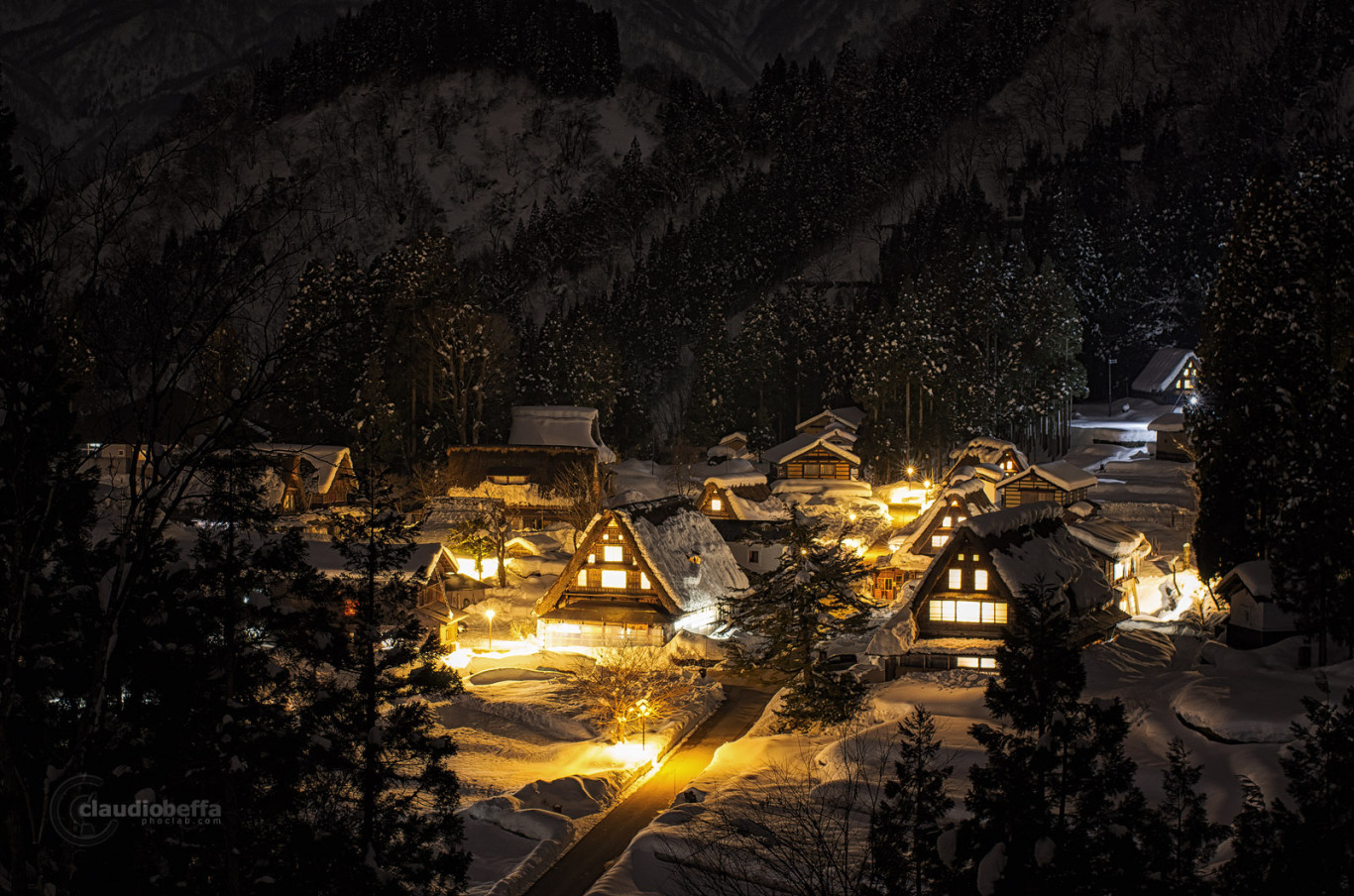 Ainokura, Toyama, Mountain, Winter, Night, Snow, Japan, Pentax, Long exposure