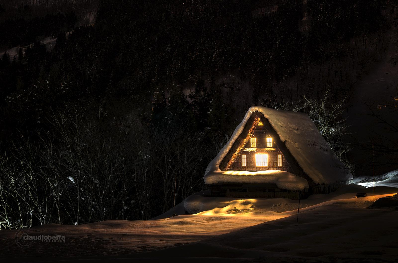 Toyama, Ainokura, Town, Gassho, Farmhouse, Winter, Night, Snow, Japan, Pentax, Long exposure