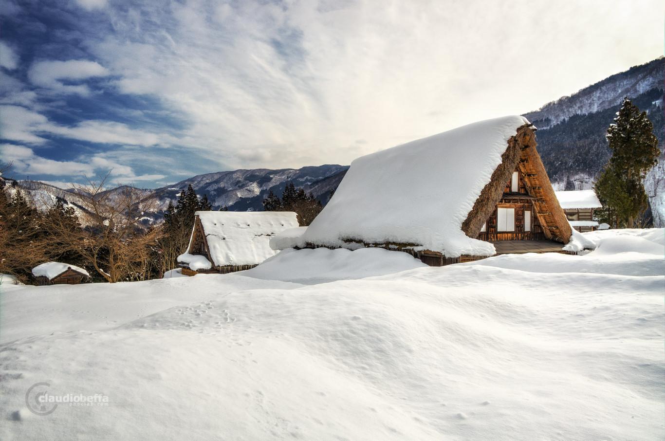 Ainokura, Gassho, Farmhouse, Snow, Mountain, Winter, Gokayama, Japan, Pentax, HDR