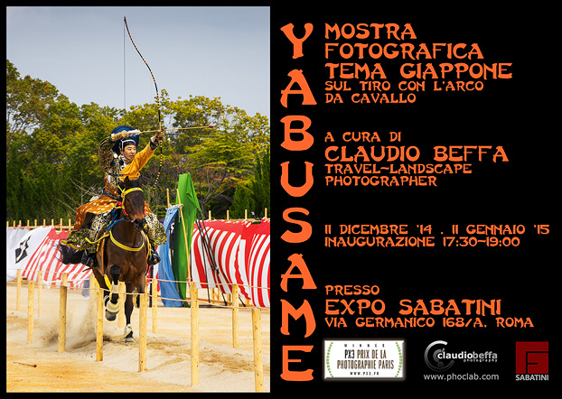 Japan, Yabusame, Archery, Event, Personal photo exhibition, Flyer, Rome