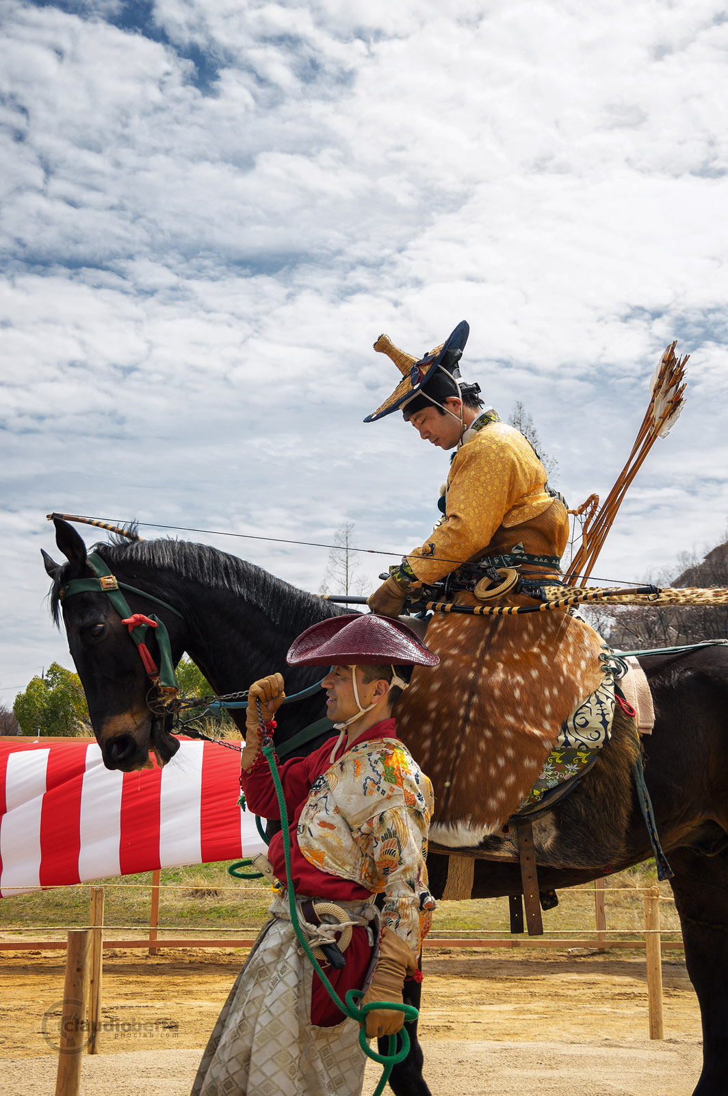 Japan, Yabusame, Traditional mounted archery, Relaxation time for archer and horse