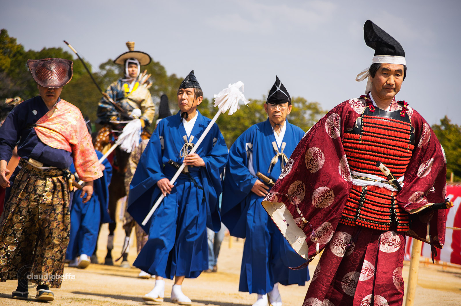Japan, Yabusame, Traditional mounted archery, Parade of archers, judges and assistants