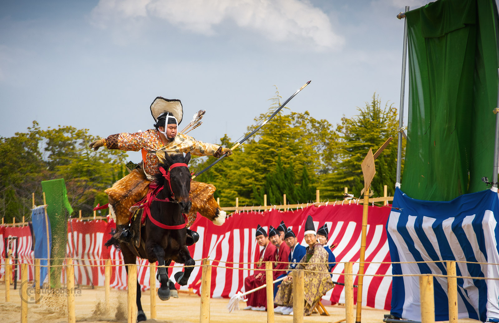 Japan, Yabusame, Traditional mounted archery, archer hits the target