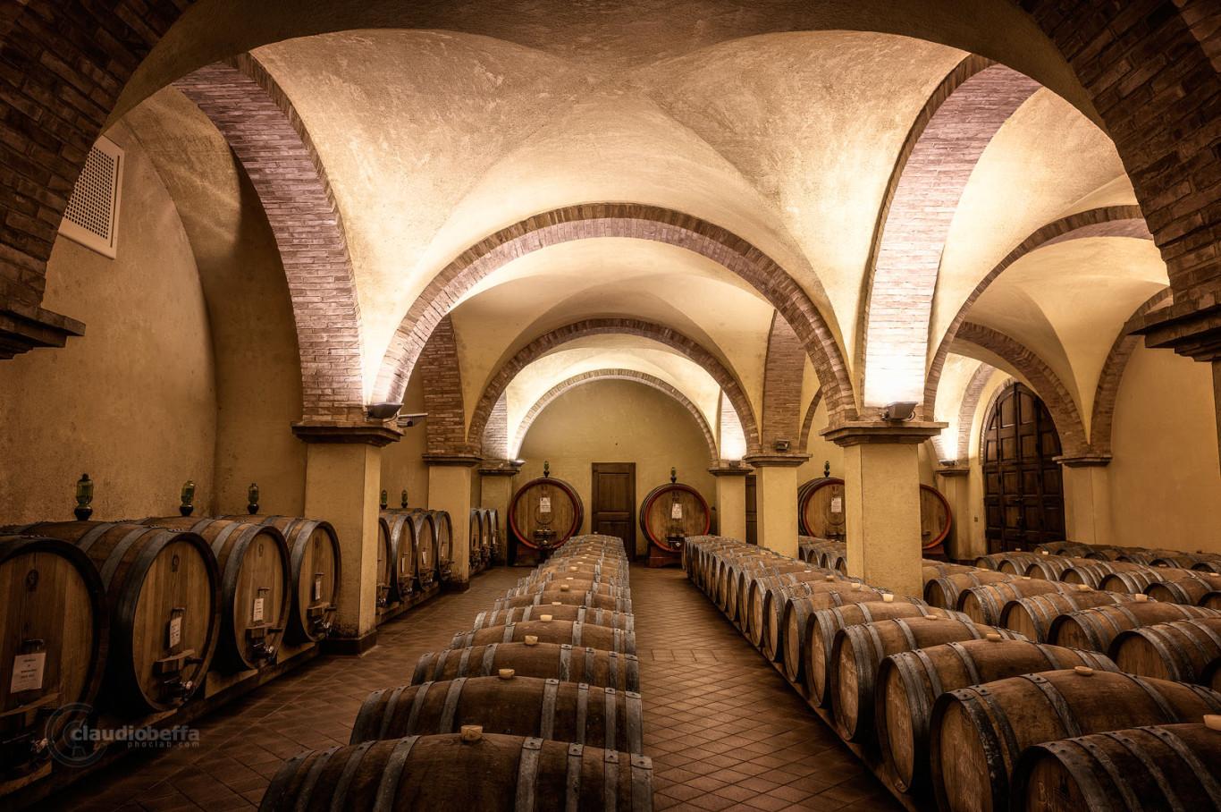 Cellar, Renaissance, Casks, Vaults, Rows, Ancient, Wine, Wine-making, Solaria, Tuscany, Toscana, Val d'Orcia, Italy, Italia
