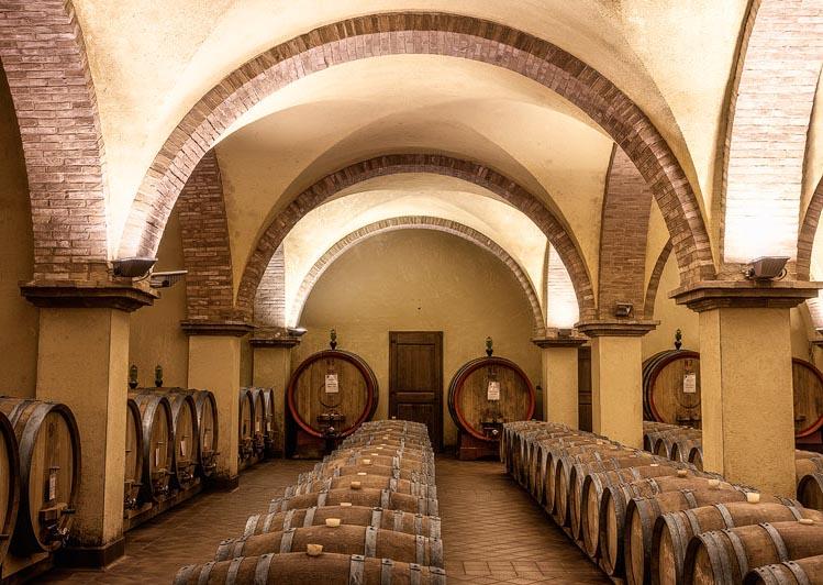Cellar, Renaissance, Casks, Vaults, Rows, Ancient, Wine, Wine-making, Solaria, Tuscany, Toscana, Val d'Orcia, Italy, Italia, Phoclab, Claudio Beffa