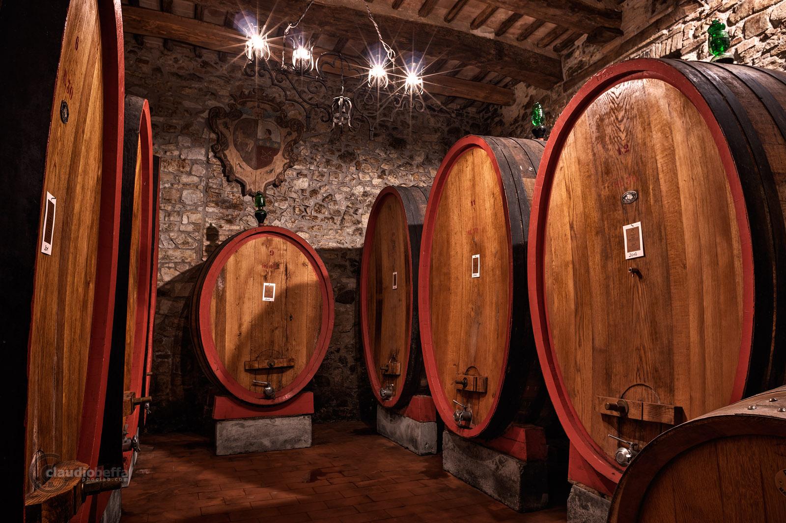 Cellar, Casks, Ancient, Wine, Wine-making, Costanti, Tuscany, Toscana, Val d'Orcia, Montalcino, Italy, Italia, gathering