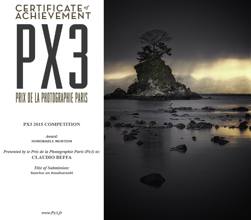 PX3, Prix, Photografie, Photography, Contest, Competition, Winner, Mention, Honorable Mention, Certificate, Sunrise on Amaharashi, Sunrise, Amaharashi