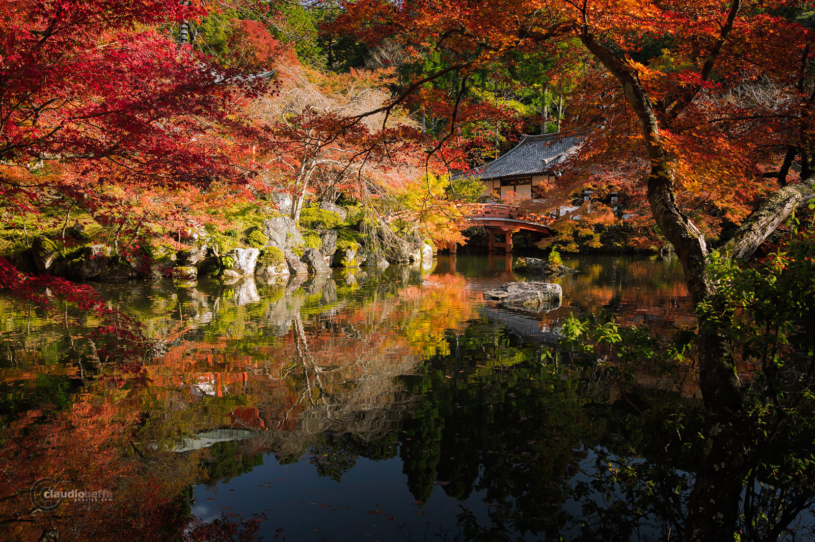 DaigoJi, Autumn, BentenDo, Kyoto, Japan, Momiji, Red, Pond, Phoclab