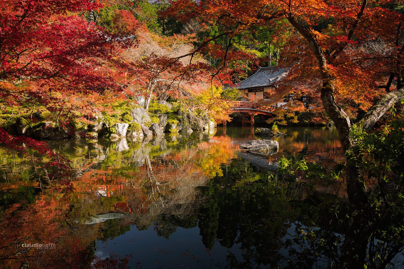 DaigoJi, Autumn, BentenDo, impressionist autumn, Kyoto, Japan, Momiji, Red, Pond, Phoclab