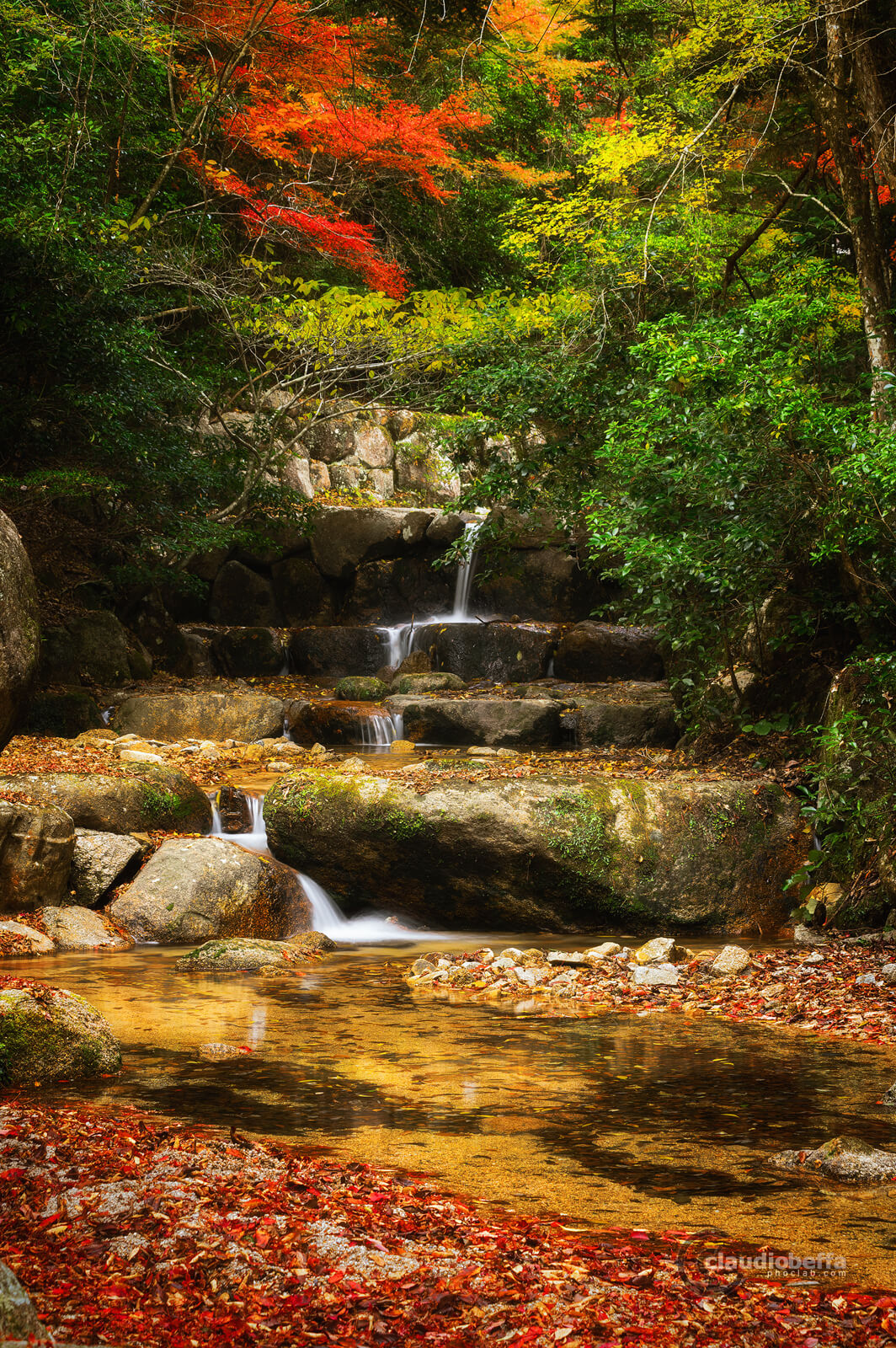 Miyajima, Miyajima autumn, Momijidani, waterfall, river, brook, placid brook, Japan, Hiroshima, autumn, fall, momiji, forest, travel, photography, phoclab