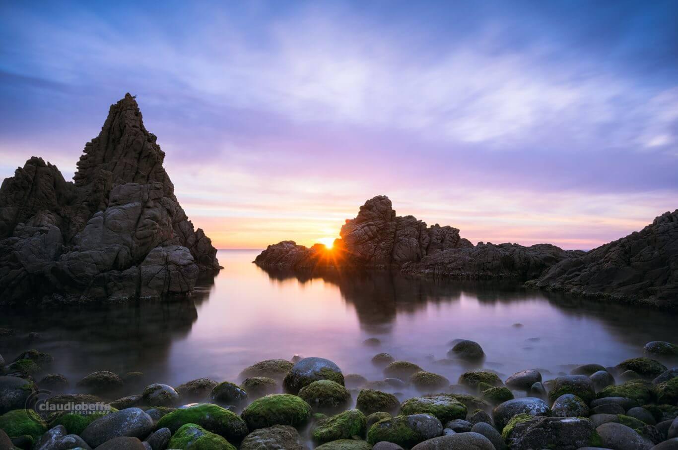Capo Pecora, Sardinia, Italy, Sea, Seascape, Sunset, Sun, Sunbeams, Cove, Shore, Pebbles, Rocks, Long exposure, Convergence
