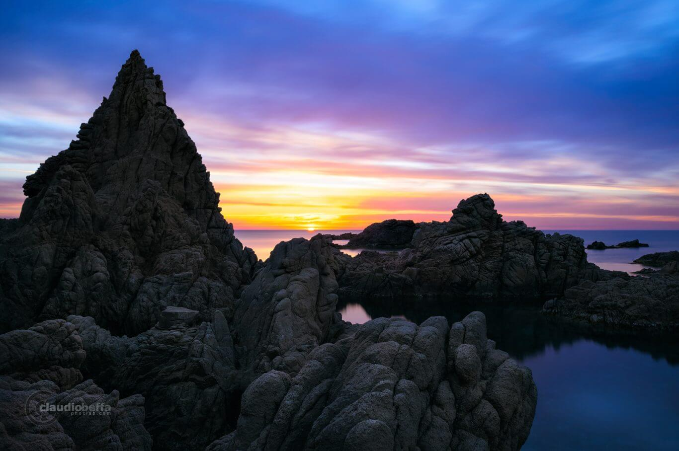 Capo Pecora, Sardinia, Italy, Sea, Seascape, Sunset, Blue hour, Cove, Rocks, Silhouettes, Long exposure, Ephemeral