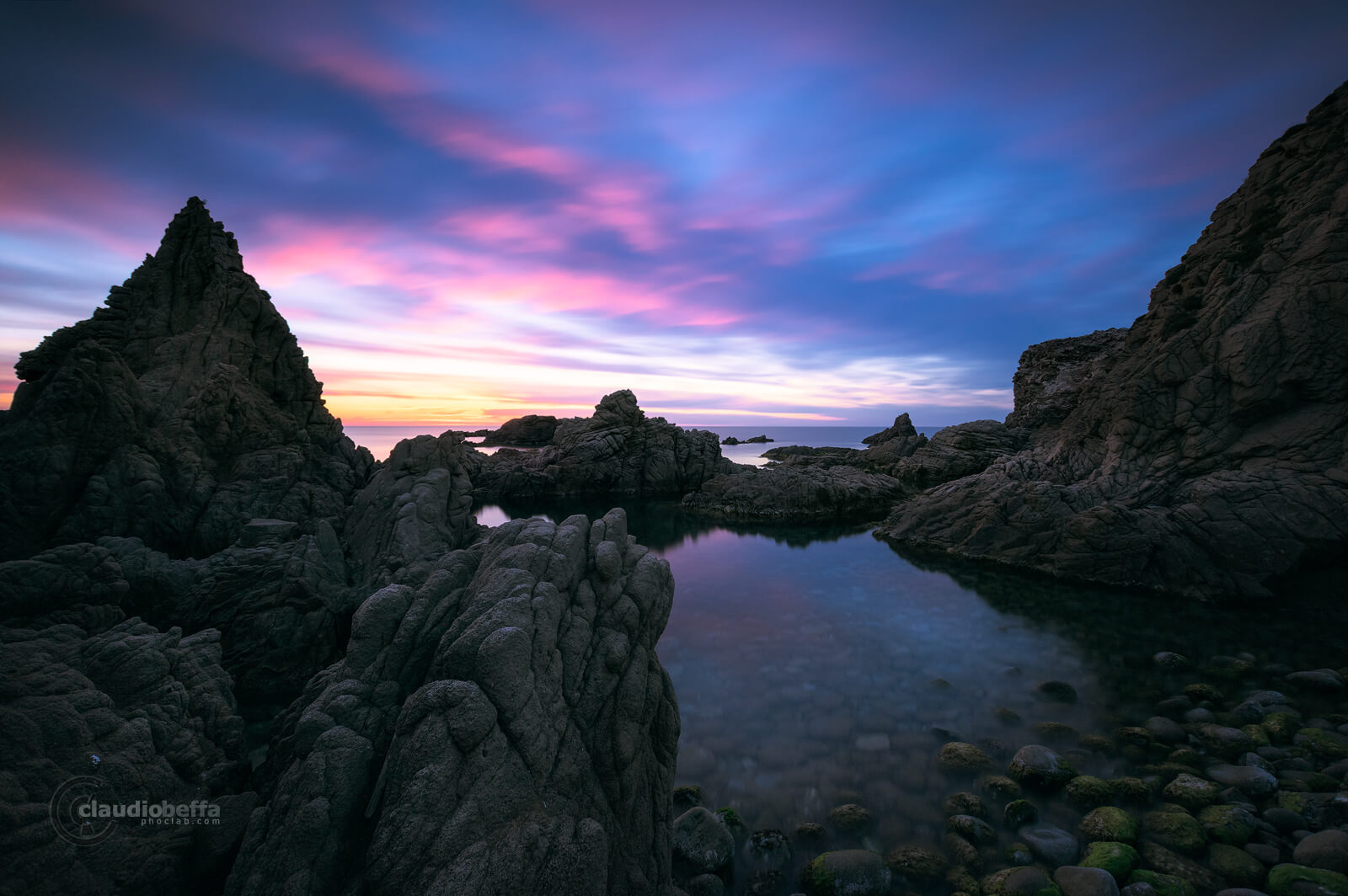 Capo Pecora, Sardinia, Italy, Sea, Seascape, Sunset, Blue hour, Cove, Shore, Pebbles, Rocks, Long exposure, Complementarity