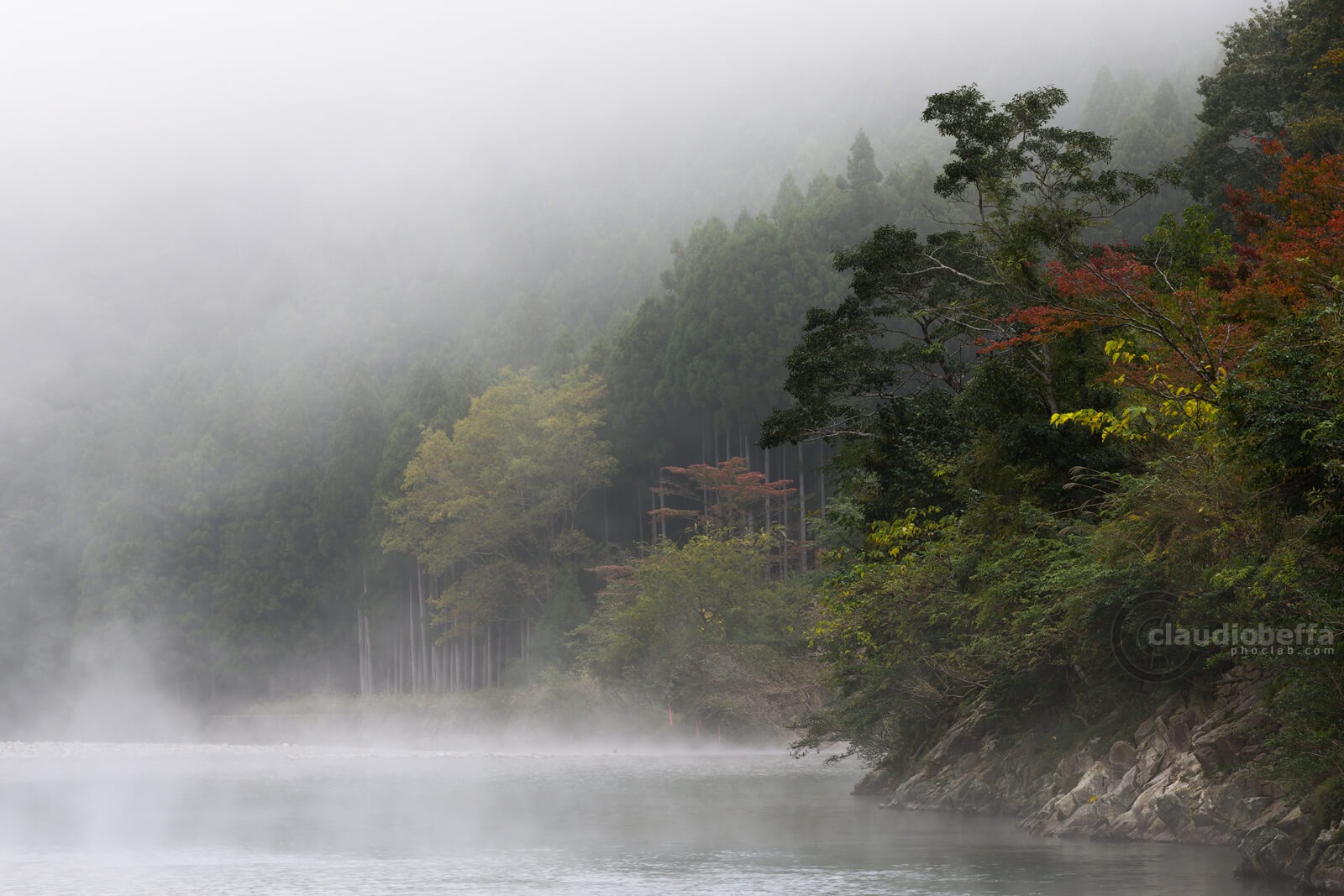 Kii peninsula, Kawayu, Kumano, Japan, River, Fog, Mist, Forest, Autumn, Nature, Travel