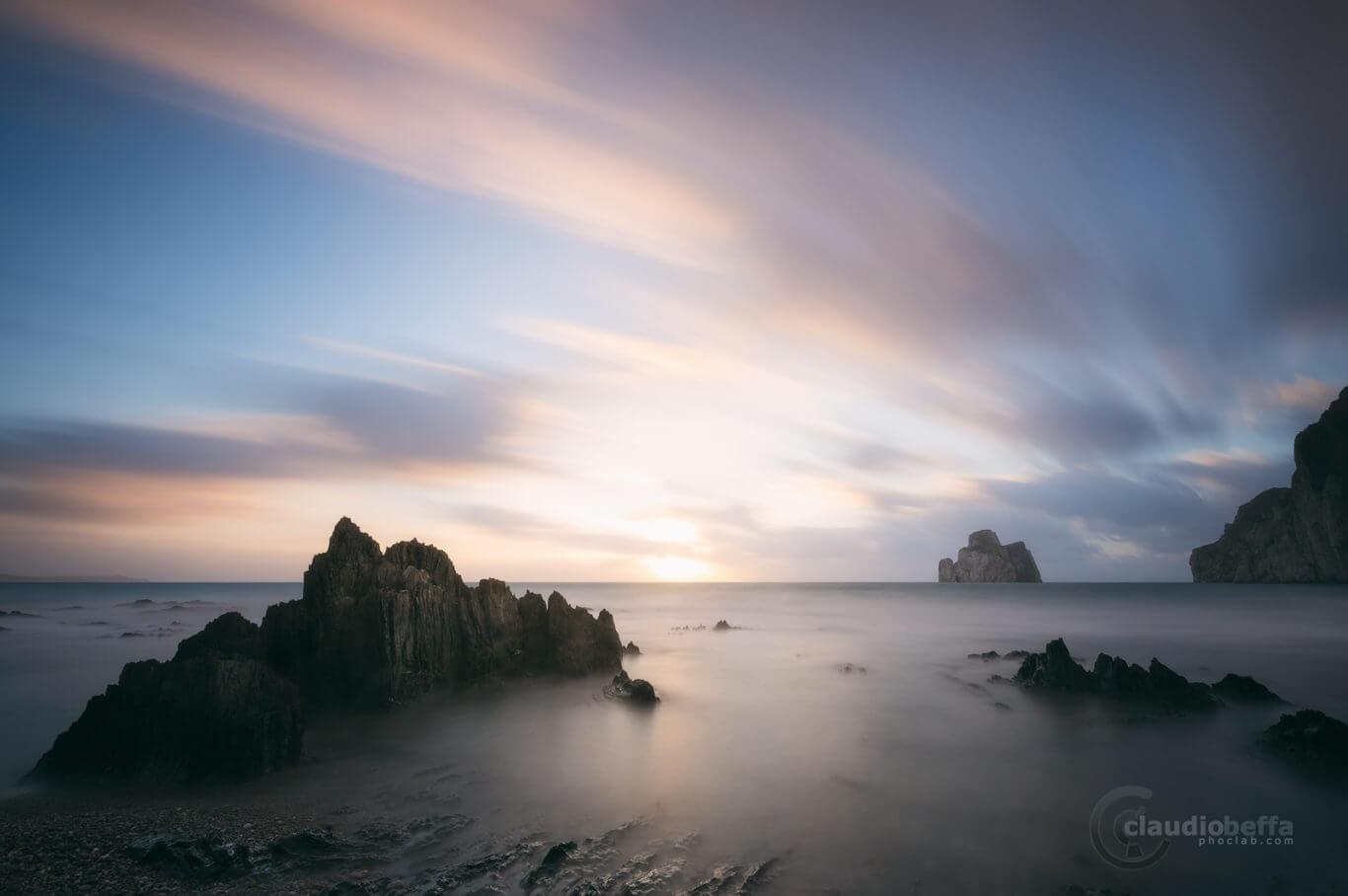 Sunset, Sea, Seascape, Landscape, Island, Pan di zucchero, Rocks, Wind, Clouds, Sun, Long exposure, Sardinia, Italy, land of light and wind