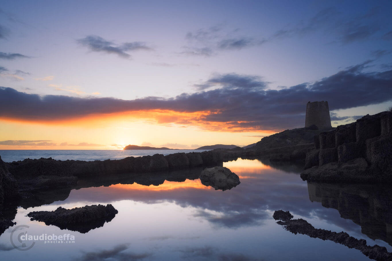 Sunset, Seascape, Sea, Pond, Quarry, Punic, Reflection, Guard tower, Sky, Clouds, Sardinia, Italy, Punic pool