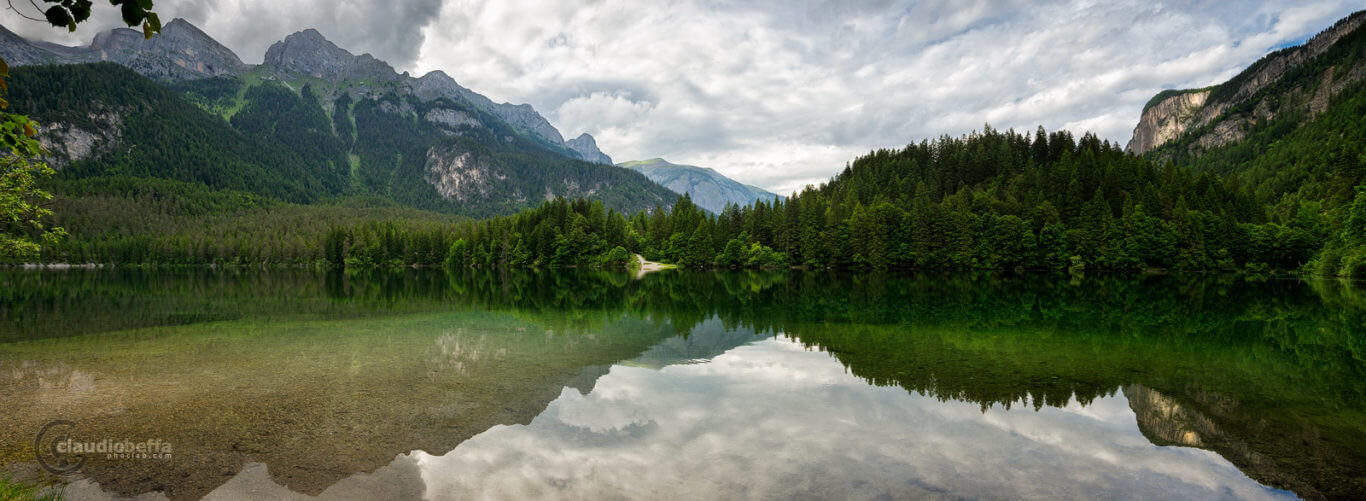 Lake, Tovel, Mountains, Wood, Reflections, Italy, Nature, Panorama, Green lake reflections