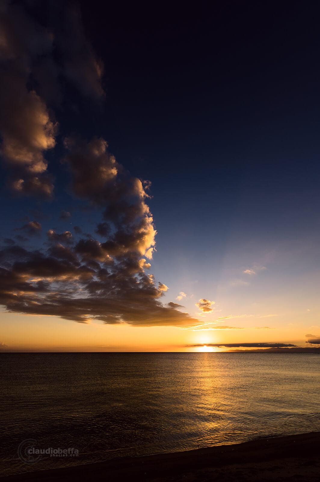 Sunset, Sun, Seascape, Light, Sky, Clouds, Moon, Beach, Sardinia, Italy, Last light
