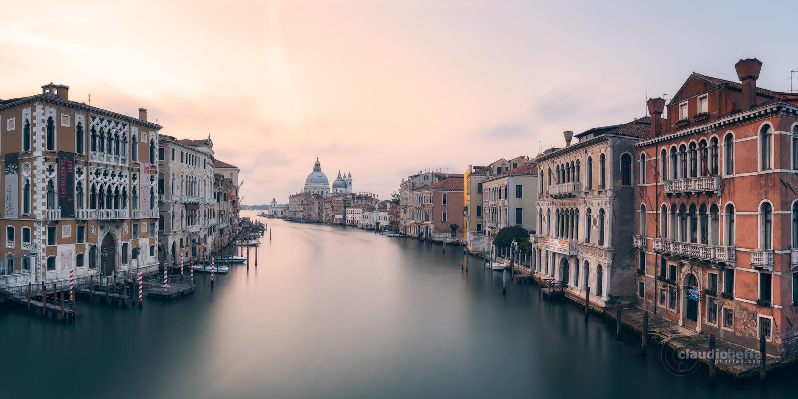 Sunrise, Venice, Venezia, Italy, Canal Grande, Grand Canal, Basilica, Santa Maria della Salute, Architecture, Art, Long Exposure, Panorama, Fine Art