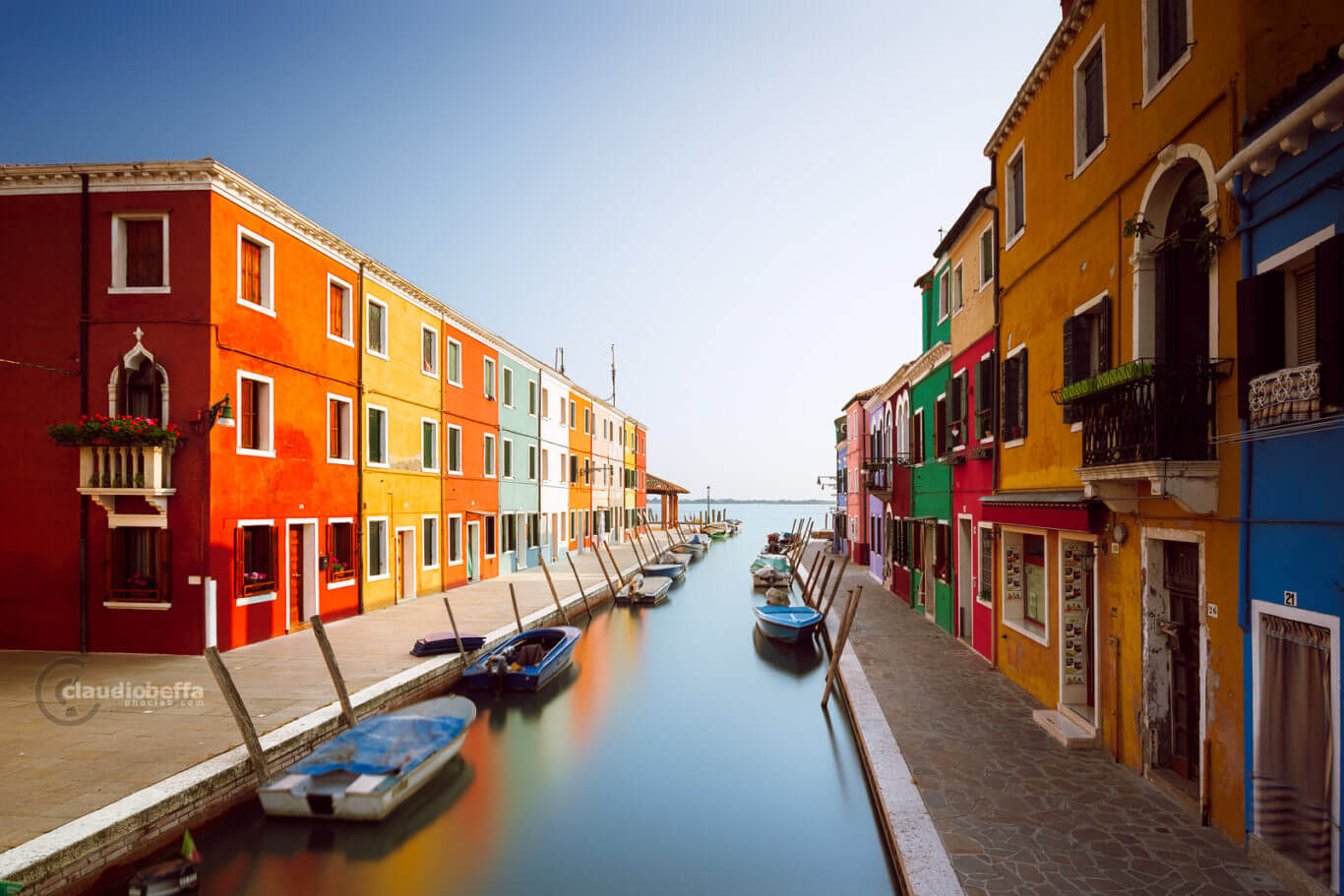 Burano, Iconic Burano, Venice, Venezia, Italy, Colors, Houses, Canal, Boats, Sunny, Noone, Long exposure