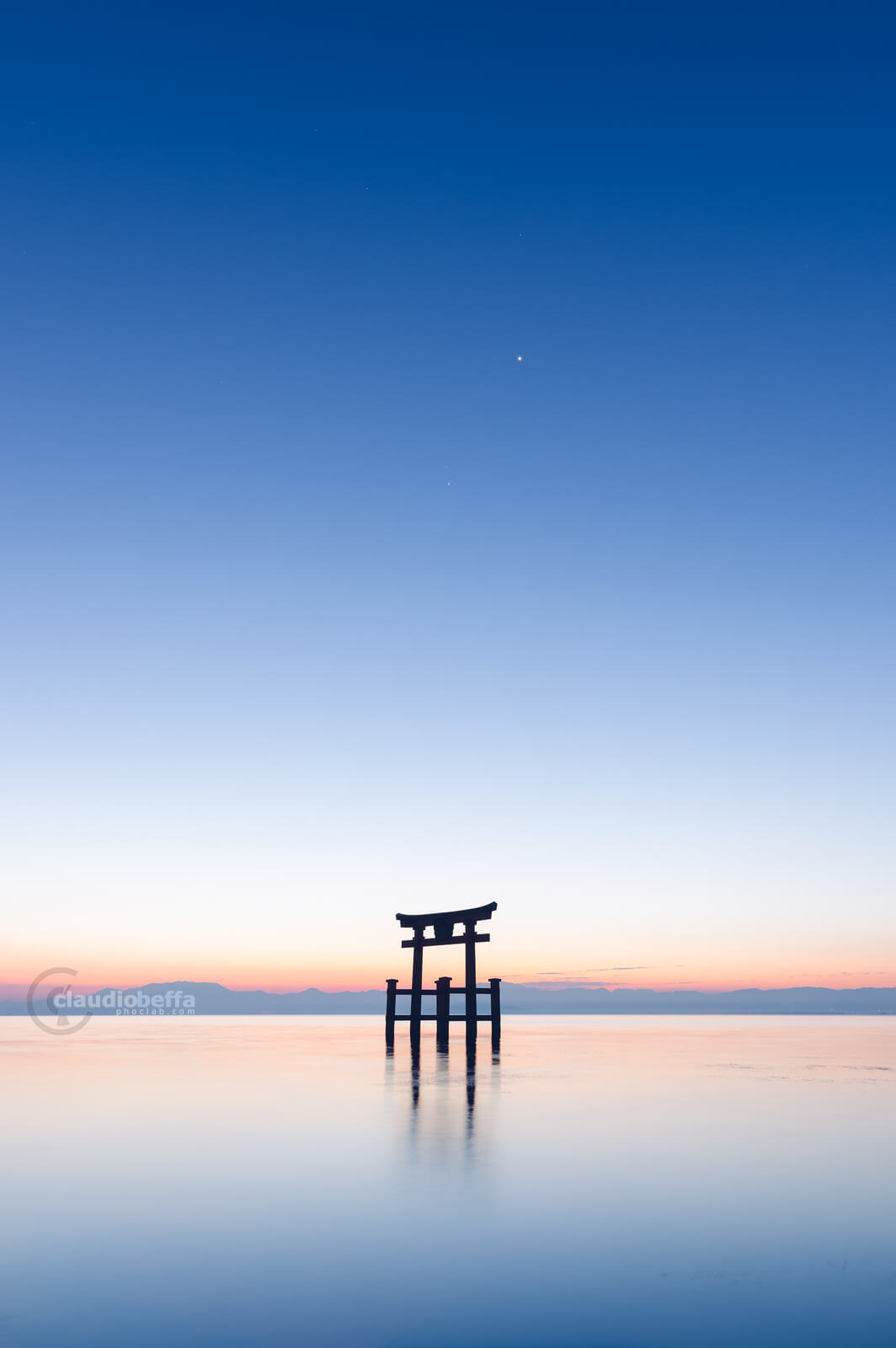 Gate to the stars, Gate, Torii, Shinto, Sunrise, Light, Stars, Water, Reflections