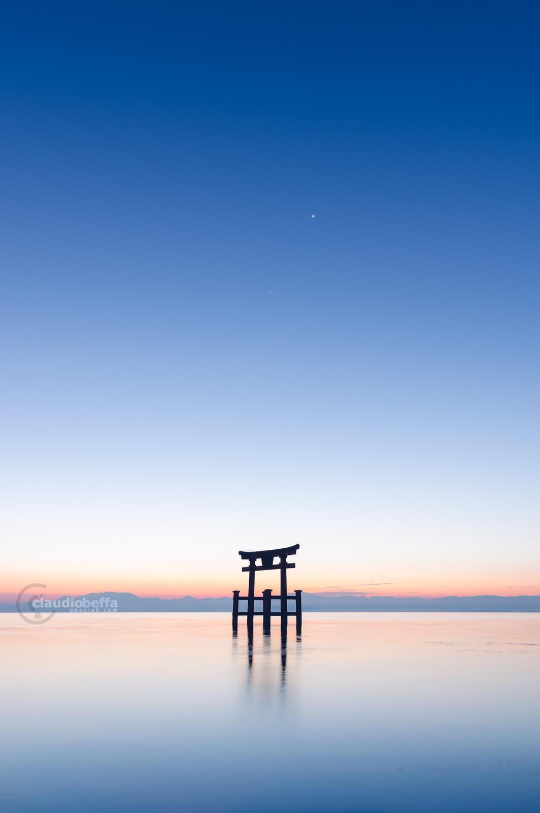 Gate to the stars, Gate, Torii, Shinto, Sunrise, Light, Stars, Water, Reflections