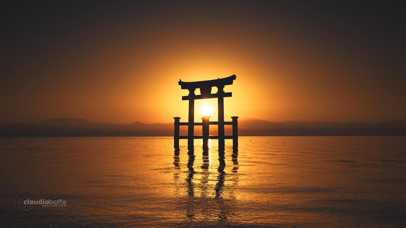 Threshold of Earth, Gate, Torii, Shinto, Sunrise, Sun, Light, Water, Reflections