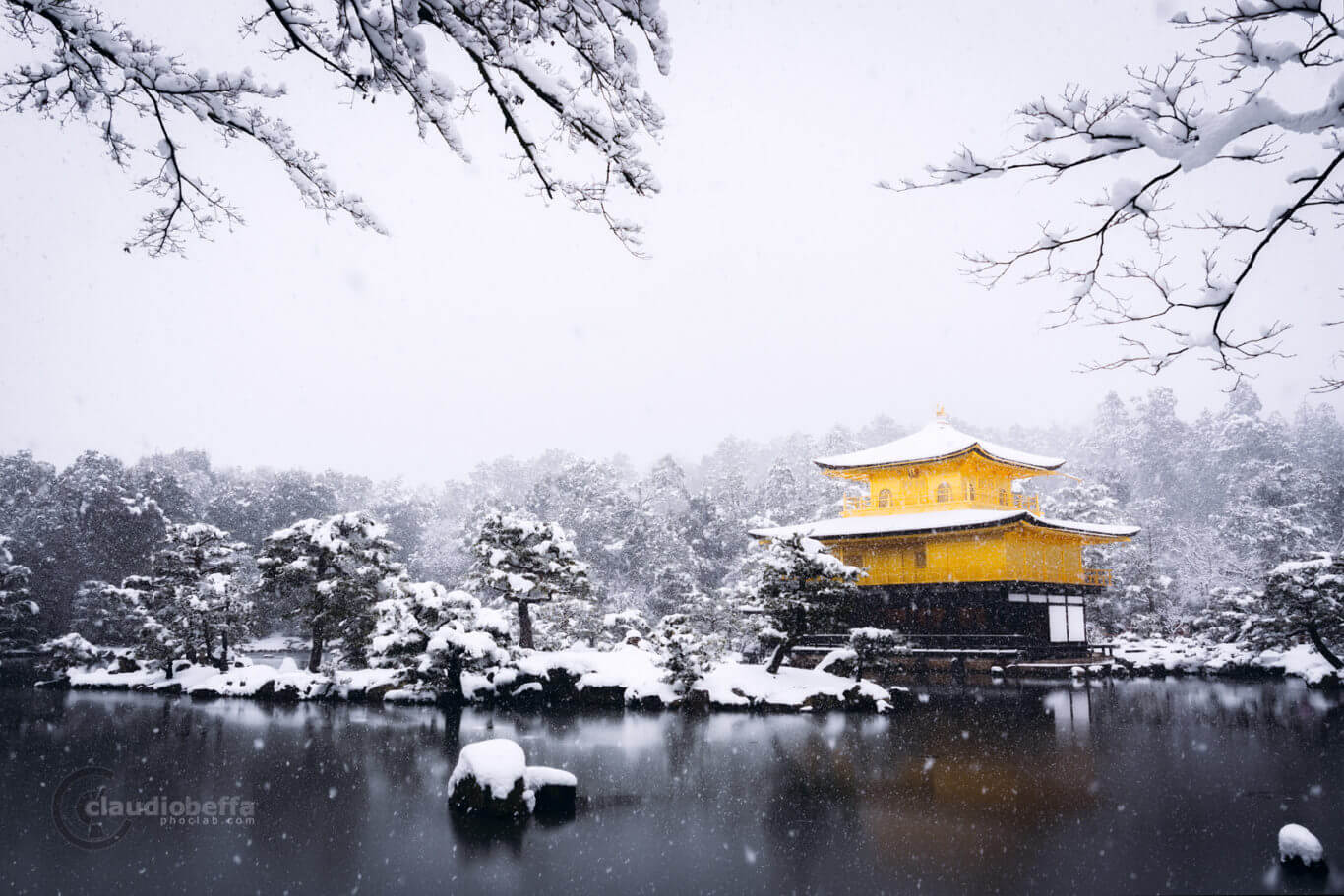 Kinkakuji golden vision, Kinkakuji, Gold, Snow, Snowfall, Garden, White, Trees, Pond, Kyoto, Japan