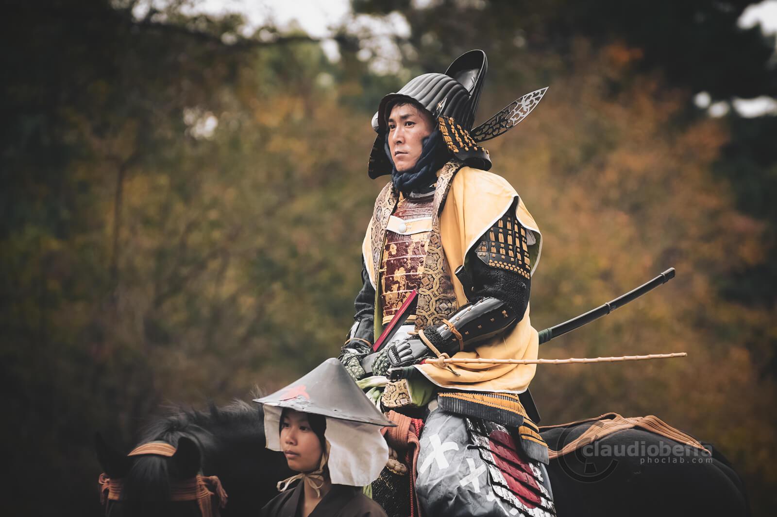 Niwa Nagahide: samurai retainer of Oda Nobunaga and then Daimyo. Yoroi, Armor, Kabuto, Helmet, Katana, Jidai Matsuri, Festival, Kyoto, Japan, History, Tradition, Travel.