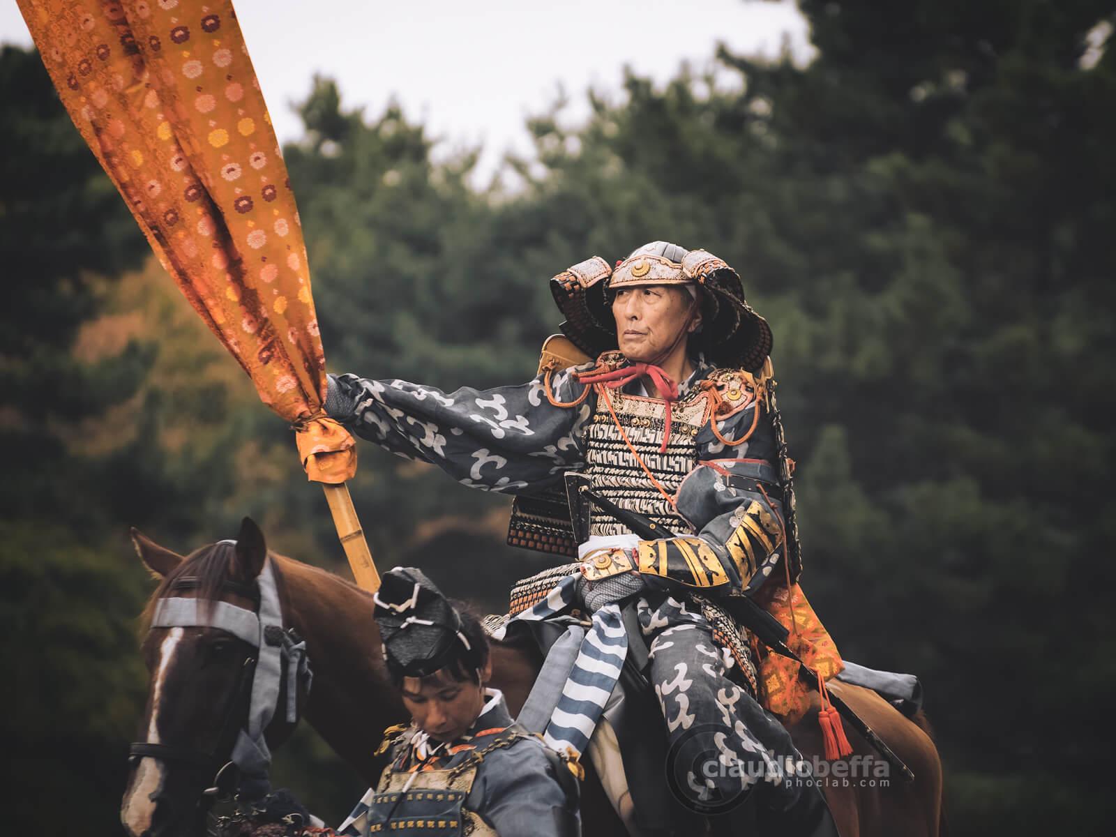 Flag officer of Kusunoki Masashige. Samurai, Yoroi, Armor, Kabuto, Helmet, Katana, Flag, Jidai Matsuri, Festival, Kyoto, Japan, History, Tradition, Travel.