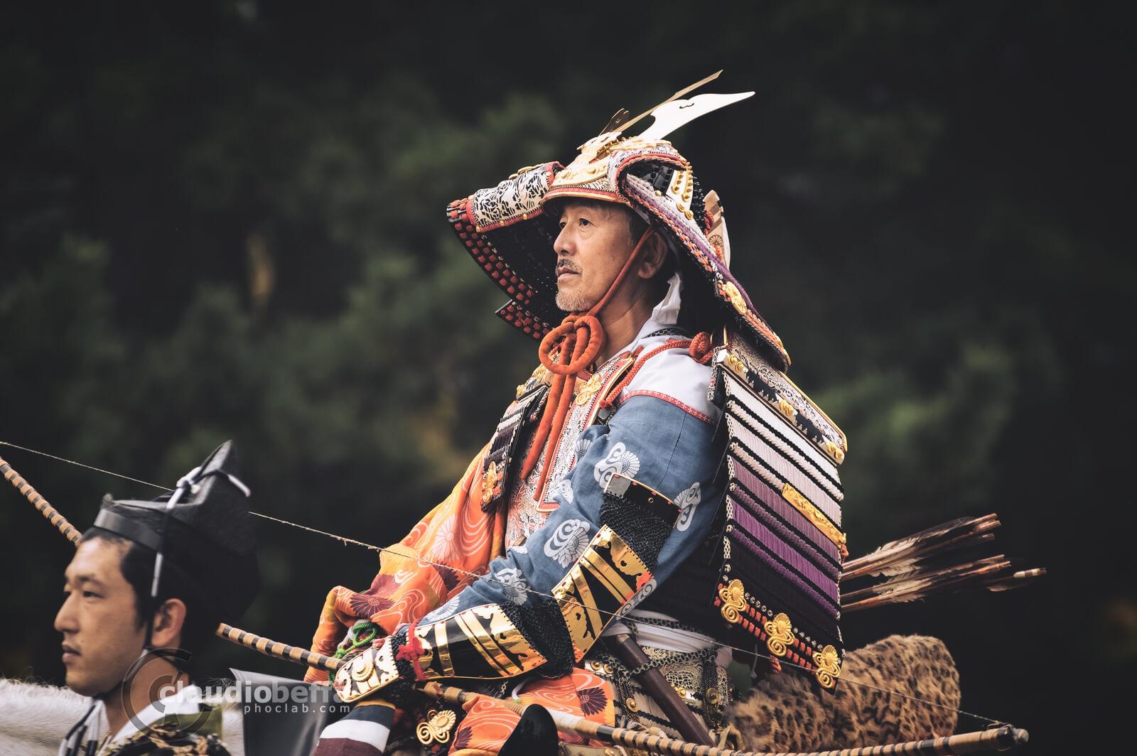 Kusunoki Masashige legendary samurai. Yoroi, Armor, Kabuto, Helmet, Yumi, Longbow, Jidai Matsuri, Festival, Kyoto, Japan, History, Tradition, Travel.