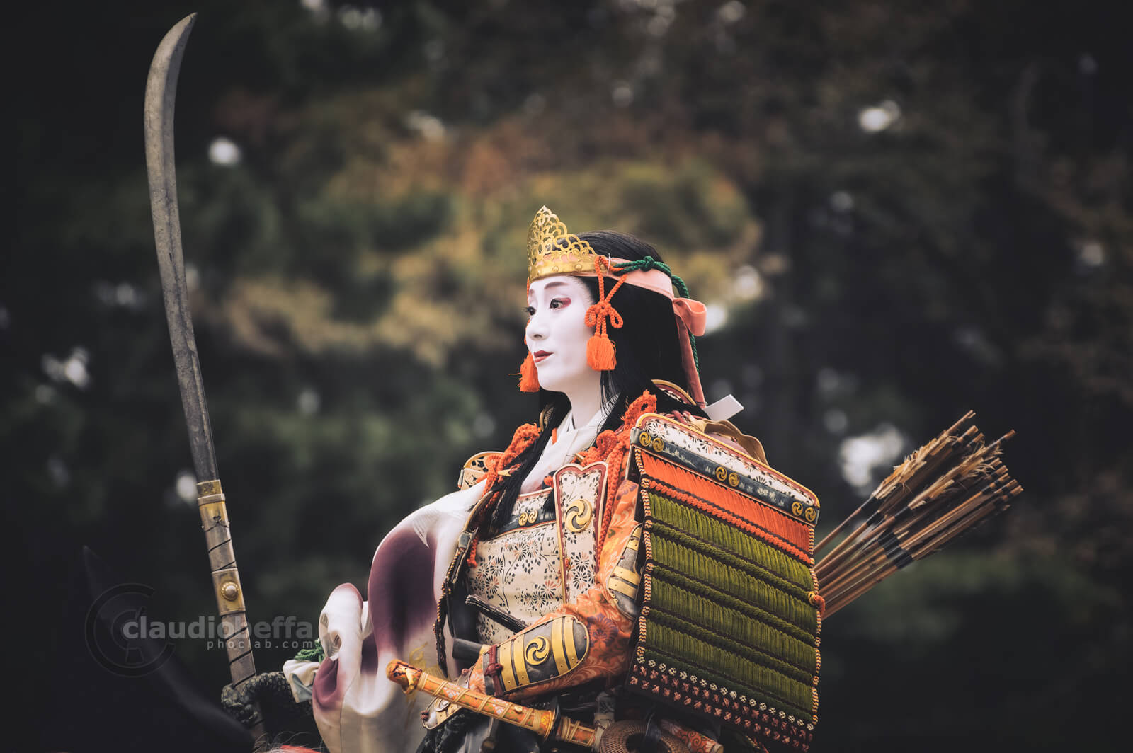 Tomoe Gozen lady samurai warrior. Yoroi, Armor, Kabuto, Helmet, Naginata, Pole blade, Jidai Matsuri, Festival, Kyoto, Japan, History, Tradition, Travel.
