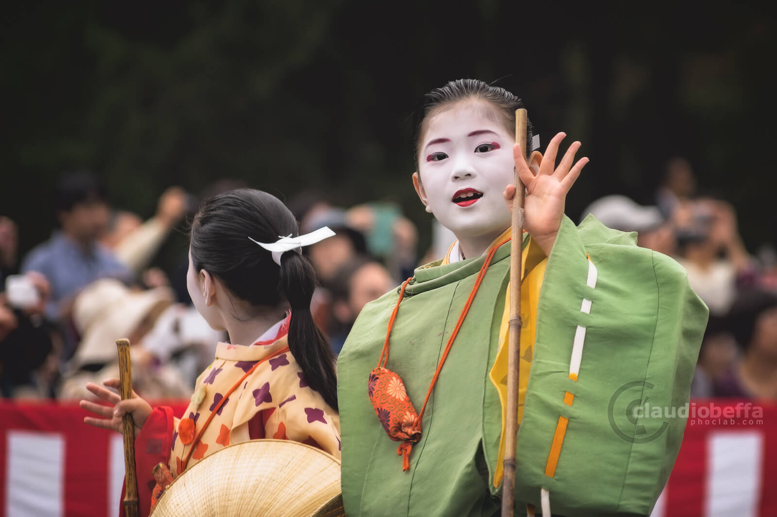 Children of Tokiwa Gozen of the Minamoto clan. Jidai Matsuri, Festival, Kyoto, Japan, History, Tradition, Travel.