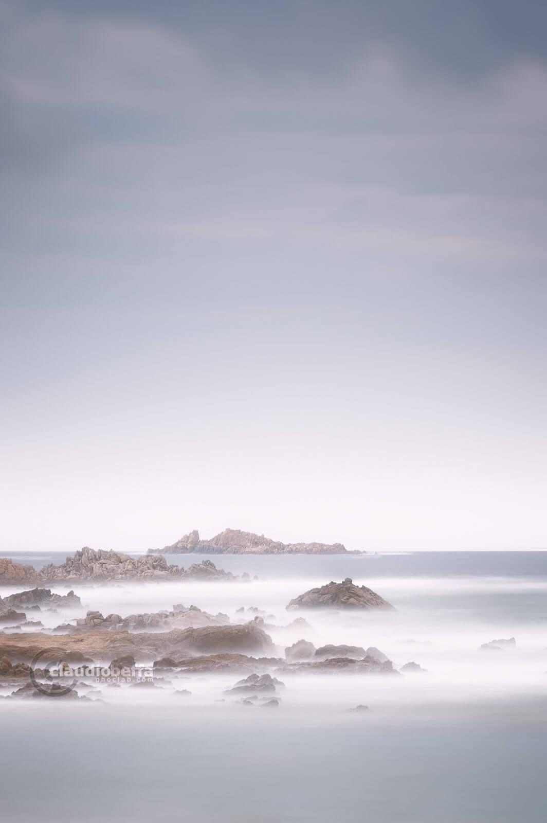 Immutability, seascape, cliff, rocks, islet, waves, sea, sky, wind, sardinia, italy, long exposure