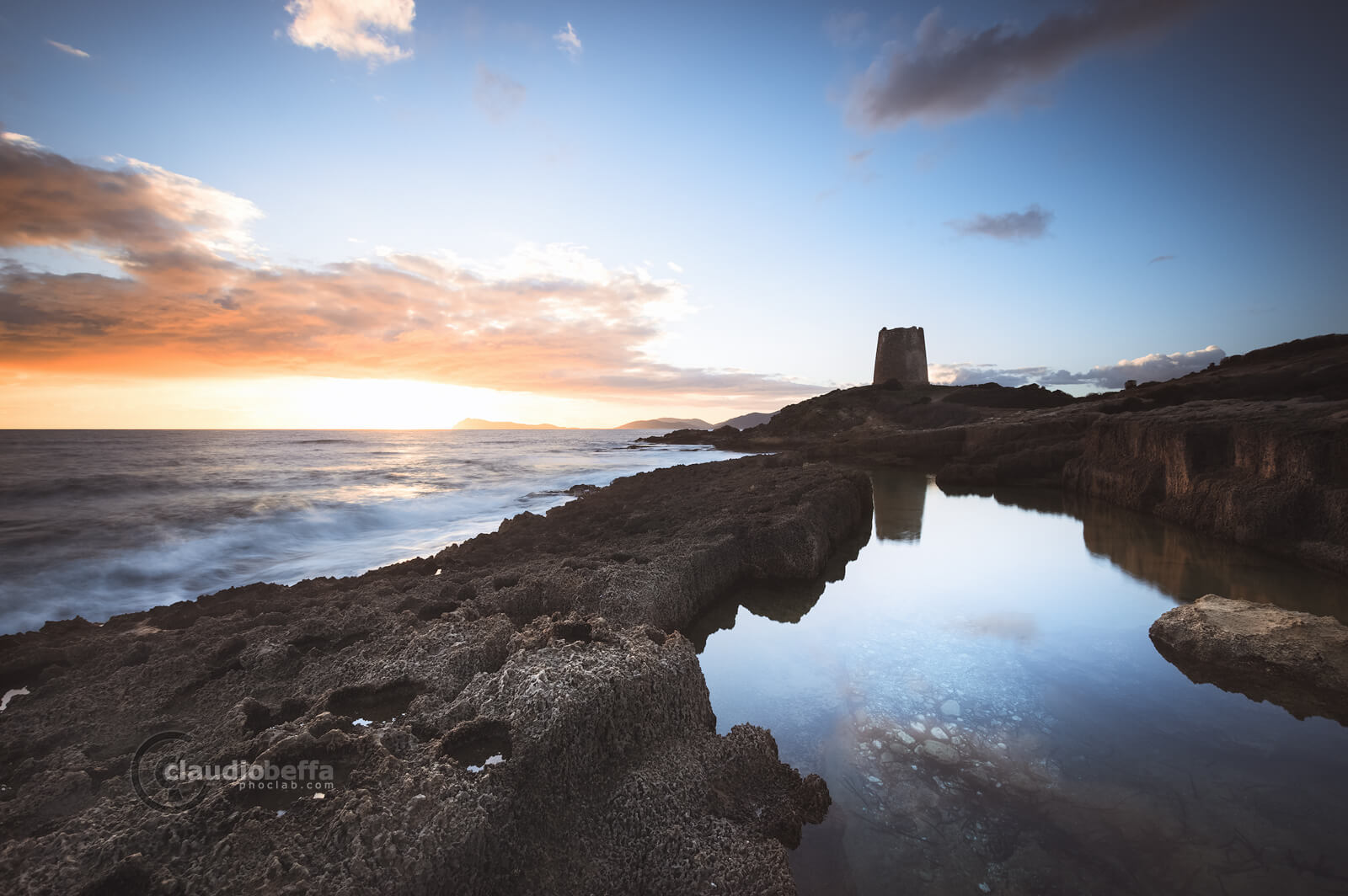 Guarding the pool, sunset, quarry, tower, pool, seascape, sea, sky, clouds, mirror, long exposure